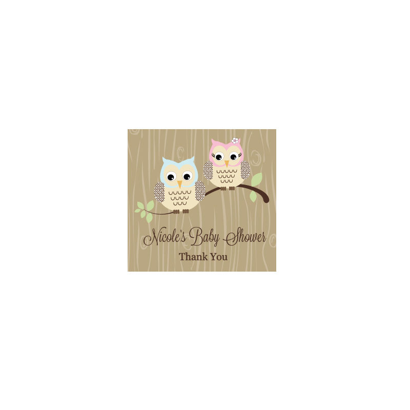 Wholesale Wedding Favors Party Favors By Event Blossom Woodland Owl Personalized Square Tags