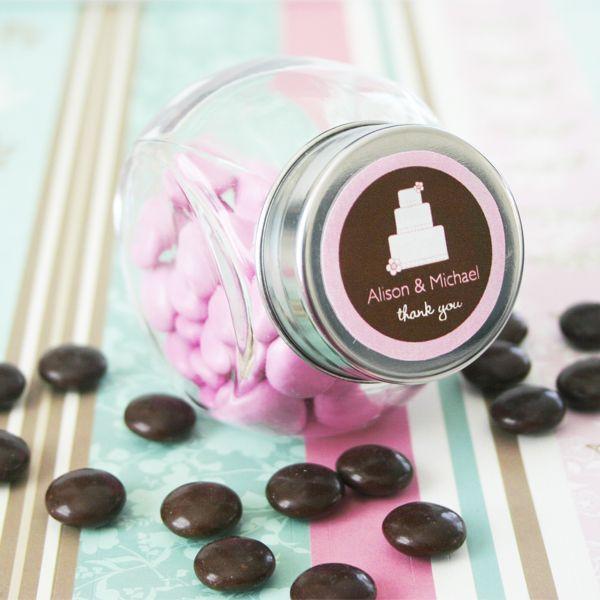 24 Personalized Custom Bride Bridal Shower Wedding Favor Candy Buffet Glass Jars