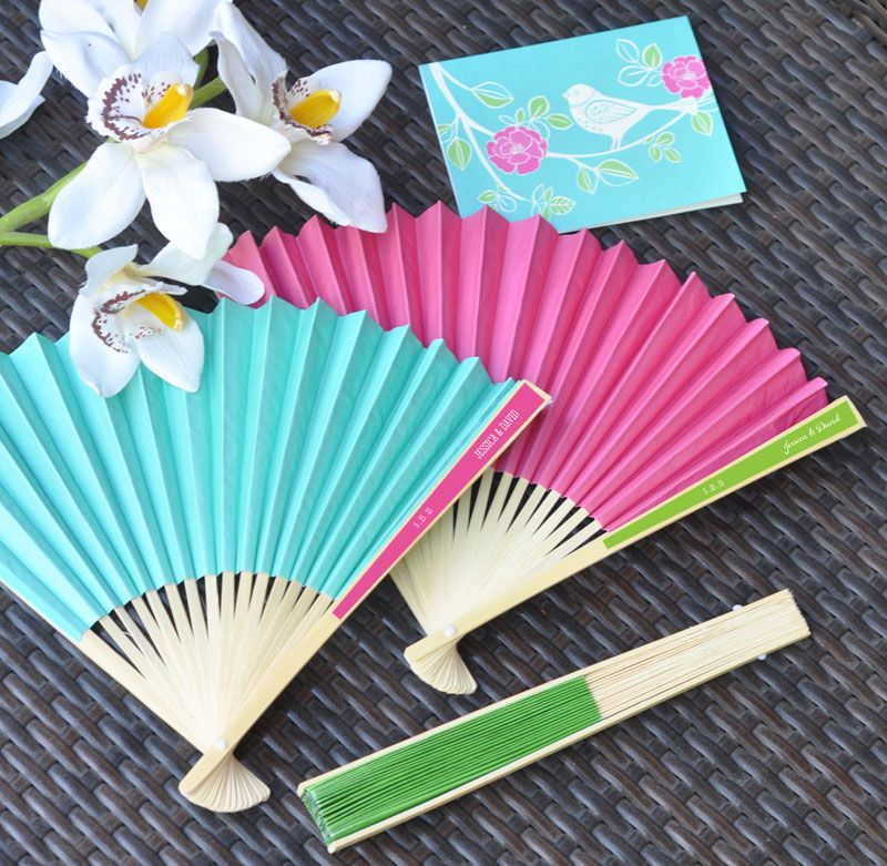 40 Personalized Monogram Paper Wedding Fans Party Favors