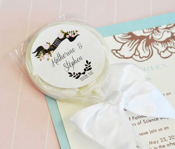 Details about 24 Personalized Custom Vintage Wedding Lollipop Suckers ...