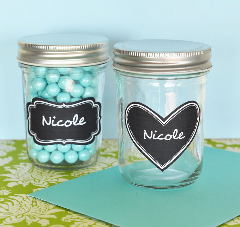 wholesale wedding favors party favors by event blossom mini mason jars with vinyl chalkboard. Black Bedroom Furniture Sets. Home Design Ideas