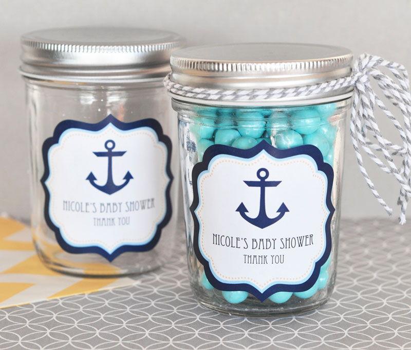 Nautical Baby Shower Personalized Mini Mason Jars