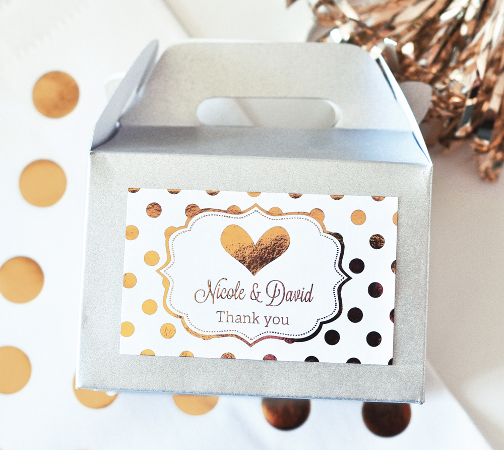 Personalized Metallic Foil Mini Gable Boxes from HotRef