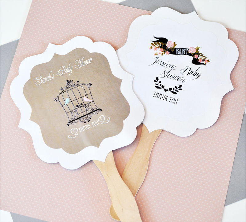 48 Personalized Custom Vintage Baby Shower Announcements Hand Fans Party Favors