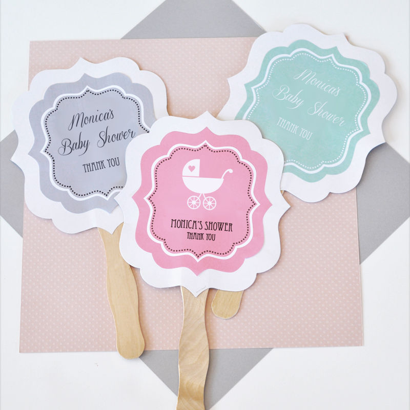 custom baby shower announcements paddle hand fans party favors ebay