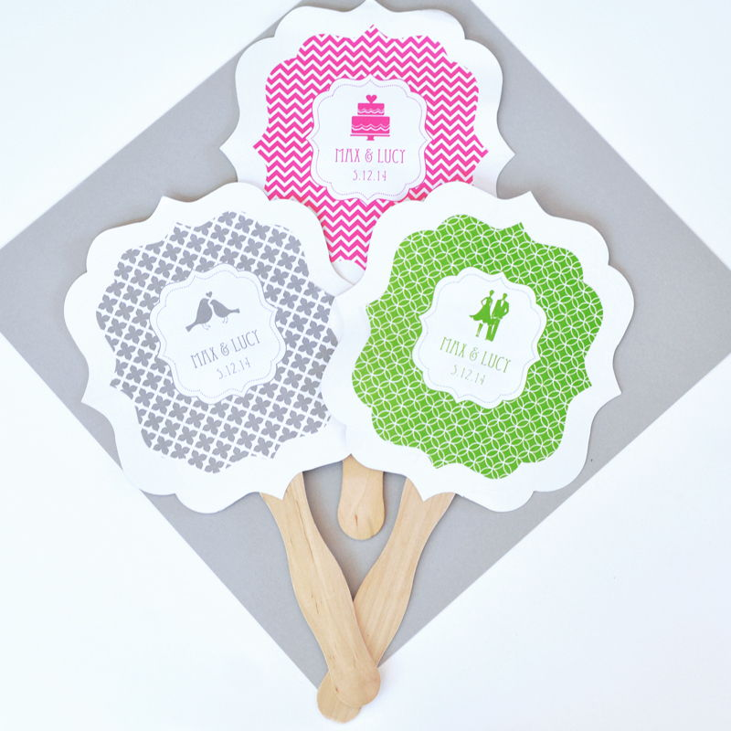 70 Personalized Custom Wedding Bridal Shower Paddle Hand Fans Party Favors