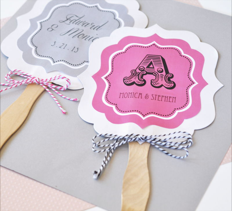 Cheap Wedding Favor Tags Canada : ... Monogram Anniversary Wedding Paddle Hand Fans Party Favor eBay