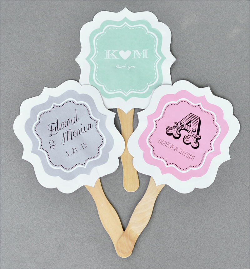 24 Personalized Custom Monogram Anniversary Wedding Paddle Hand Fans Party Fa