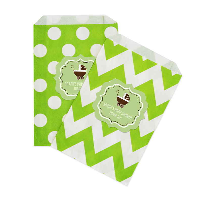 event blossom green baby shower chevron dots goodie bags set of 12
