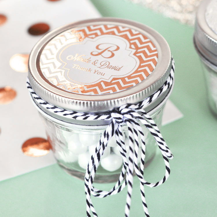 Personalized Metallic Foil Small 4 oz Mason Jars - Wedding from HotRef