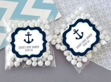 Nautical Baby Shower Clear Candy Bags Set Of 24