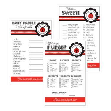 Baby Shower Games (Set Of 10)   Ladybug