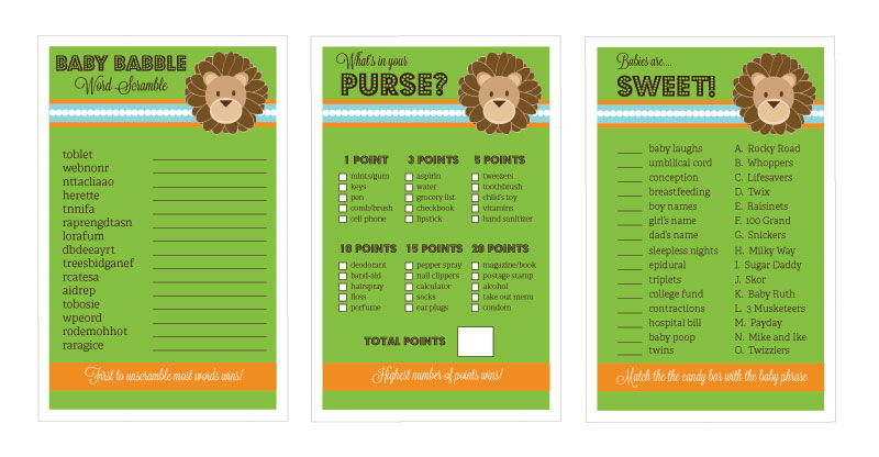 baby shower games set of 10 jungle safari by event blossom
