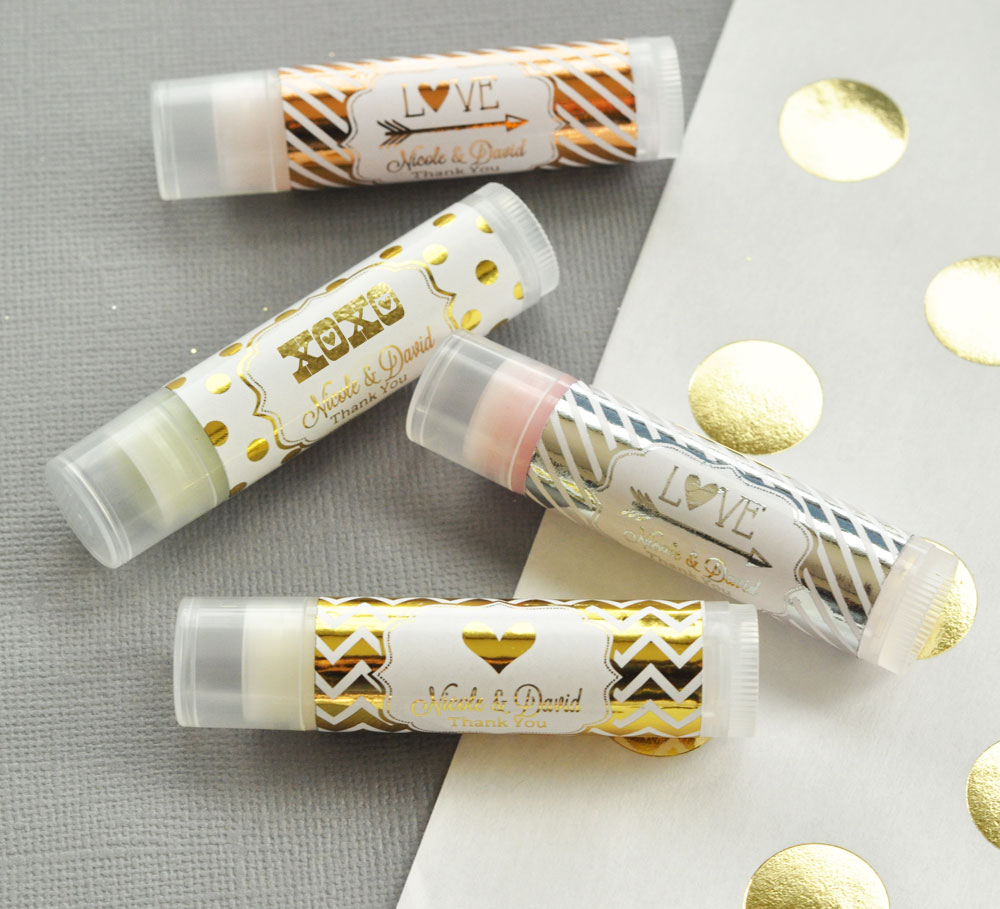 Personalized Metallic Foil Lip Balm Tubes from HotRef