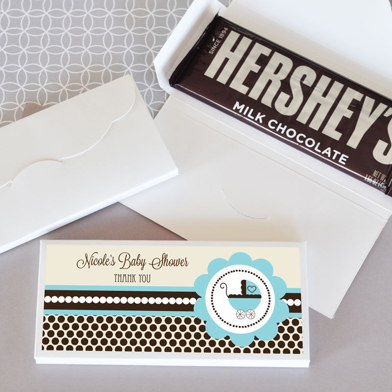 24 Personalized Blue Boy Baby Shower Candy Bar Wrappers