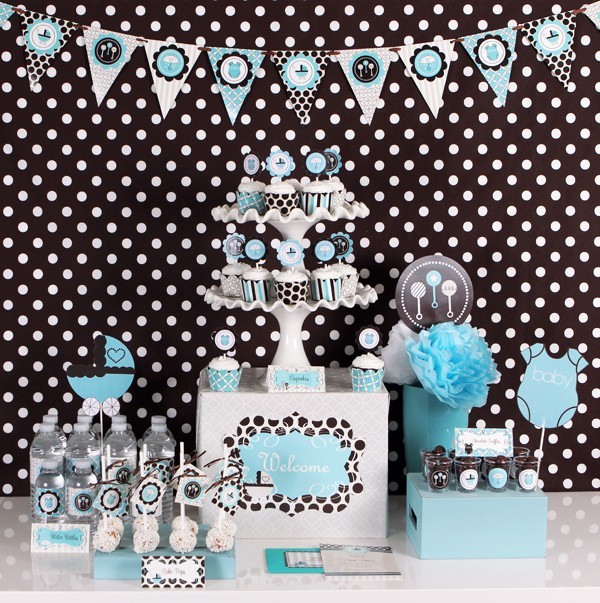 blue baby shower mod party kit