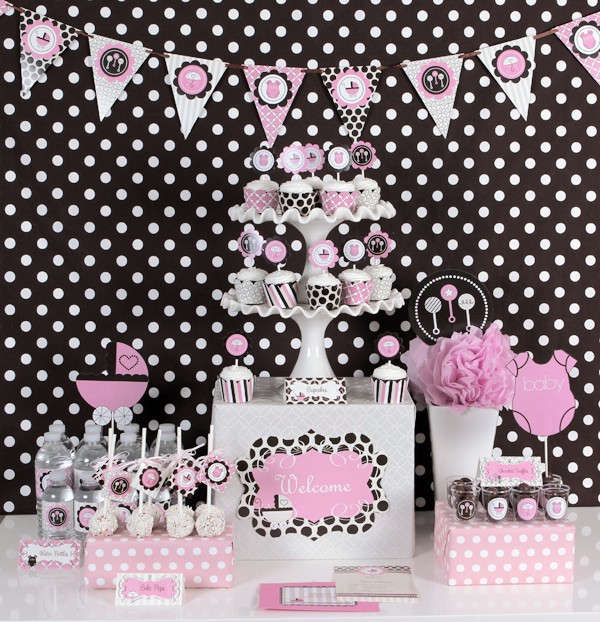 pink baby mod party kit