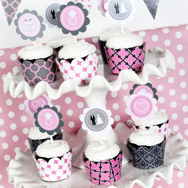 wedding shower mod party kit pennant banner pennant banner water bottle labels cupcake wrappers and cupcake toppers